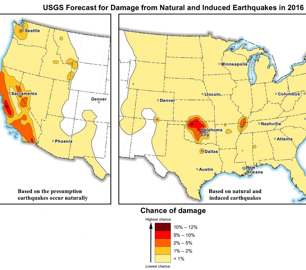 USGS map showing 2016 quake hazards