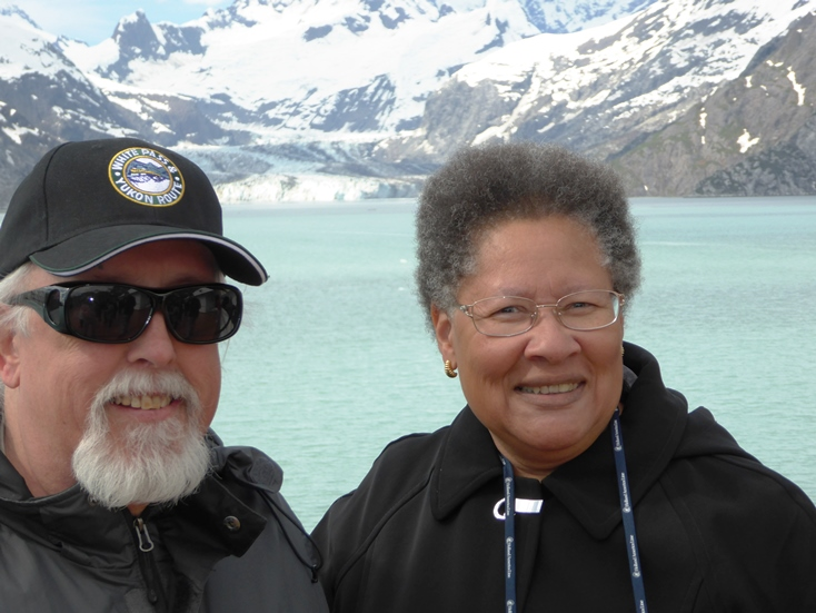 on the deck in Glacier Bay