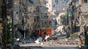 Damaged buildings in Syria, from CNN website