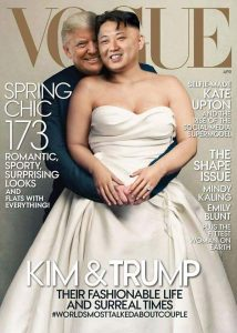 Fake magazine cover with Trump as groom and Kim Jong Un as bride
