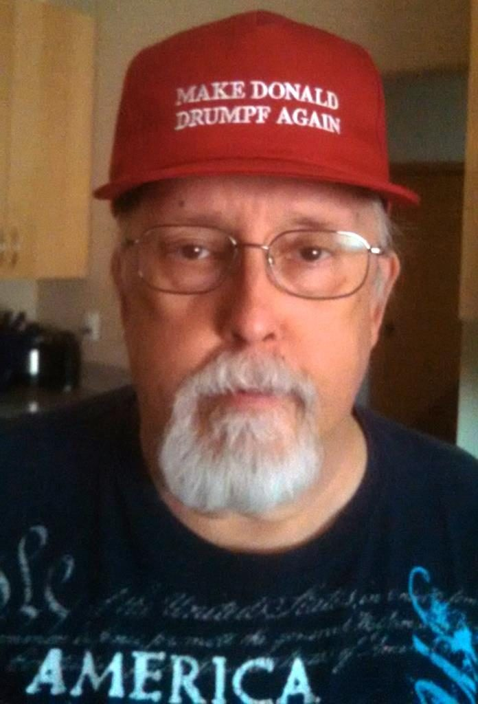 Me wearing Make Donald Drumpf Again cap
