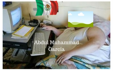 large man in bed using computer