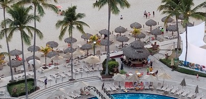 beach and vacation lounging area from above